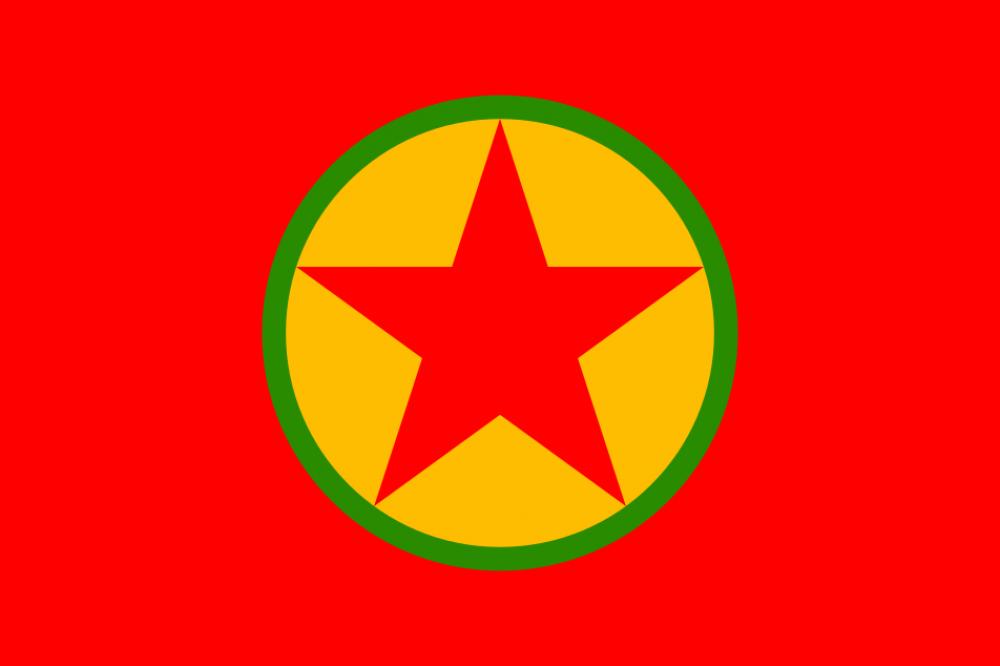 דגל מפלגת הפועלים של כורדיסטן