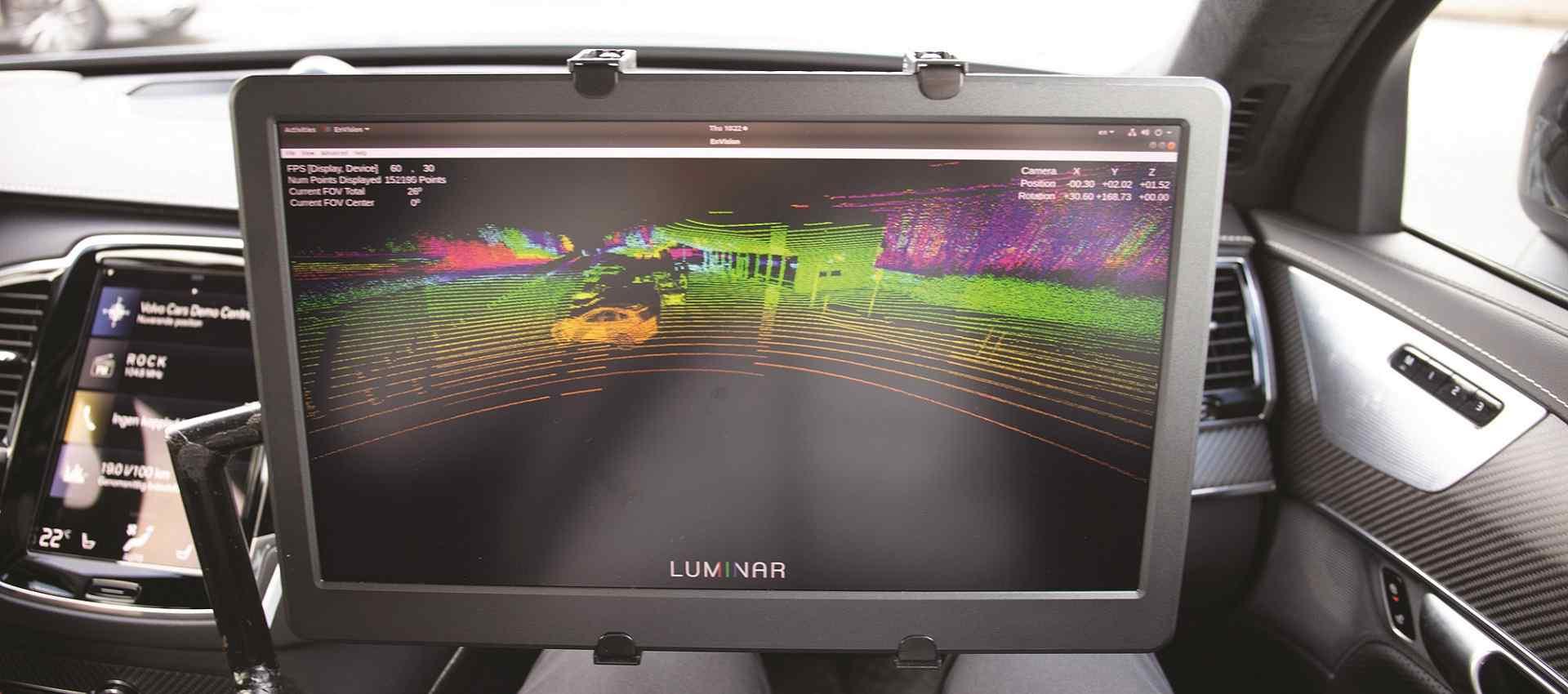 """המערכת בפעולה. מסייעת למכוניות אוטונומיות """"לראות את הסביבה"""". צילום: Luminar"""