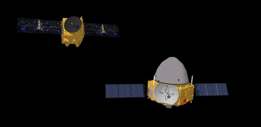 אילוסטרציה של חלליות Hope מאיחוד האמירויות וTianwen-1 של סין, הן צפויות לנחות על המאדים ב-9 וב-10 לפברואר, בהתאמה. צילום: shutterstock