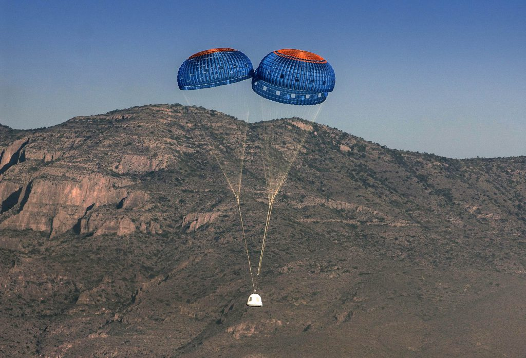 נחתה בשלום. החללית של בזוס נוחתת לקרקע | צילום: Blue Origin