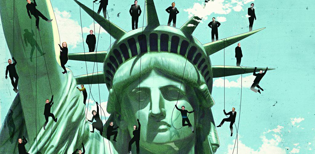 """מדיניות ההגירה של ארה""""ב. דוחקת החוצה דווקא יזמים מבטיחים   איור: Emanuel Polanco"""