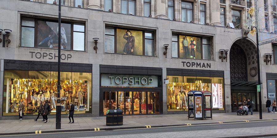 חנות הדגל של טופשופ וטופמן ברחוב אוקספורד בלונדון. צילום: shutterstock