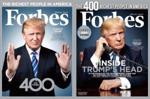 """בימים טובים יותר: טראמפ מככב על שער מהדורת עשירי ארה""""ב של פורבס   צילום: שערי פורבס"""